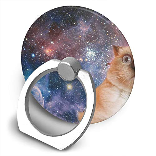 Cooby Roman Circular Cell Phone Stand Cute Space Cat Art Finger Ring Stand Holder - Finger Grip Kickstand 360¡« Rotation for iPhone and More -