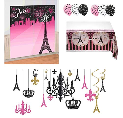 Amscan 4 Piece Paris Theme Party Room Decorations with Glitter Chandelier Bundle -