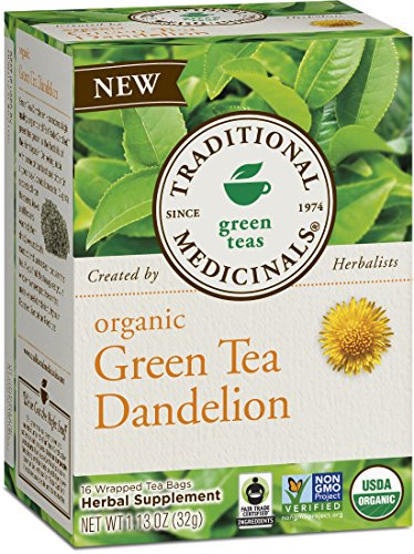 Traditional Medicinals Organic Green Tea Dandelion Tea, 16 Tea Bags (Pack of 6) - Dandelion Tea Bags