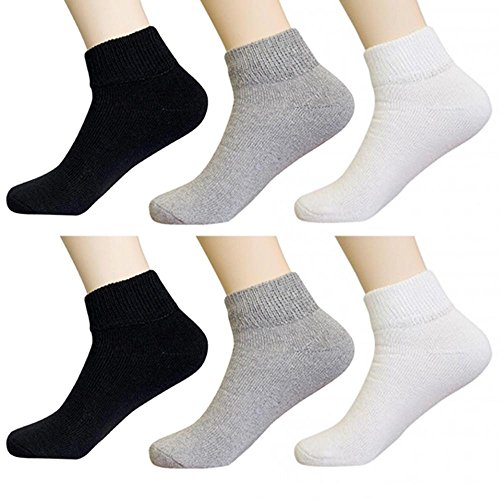 6 Pair Diabetic Ankle Circulatory Socks Health Support Mens Loose Fit Size 10-13