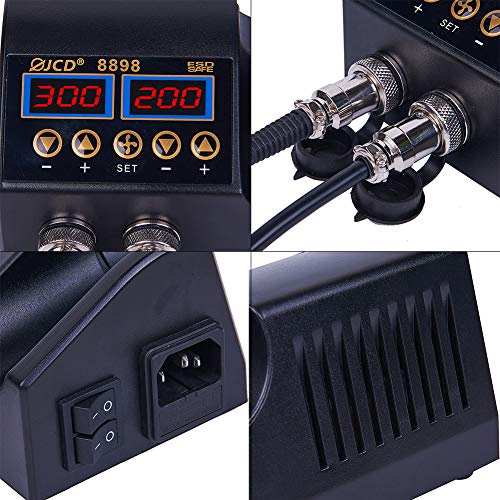 WMORE Soldering Station, 750W 2 IN 1 Digital Electronic Repair Tool with Hot Air Gun, SMD Soldering Iron and 8898 Hot Air Welding Rework Station for BGA Cell-phone Repair