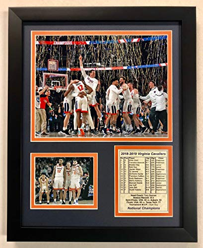Legends Never Die NCAA Virginia Cavaliers 2018-2019 Men's Basketball National Champions Framed Double Matted Photos, Celebration, 12
