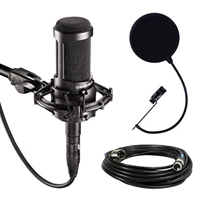 Audio Technica AT2035 Large Diaphragm Studio Condenser Microphone Bundle
