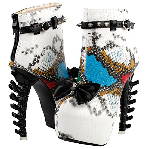 Boots LF80653 Heels Print Stud Skin Snake Punk Bone Bow Story Ankle Show Buckle Blue Platform Hw7qOZpxq
