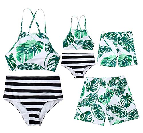 Family Matching Leaf Print Swimsuit Parent-Child Striped Bathing