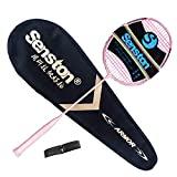 Senston N80-YT Jointless Badminton Racket Single High-Grade Badminton Racquet Carbon Fiber Badminton Racket Pink with Racket Cover and Overgrip For Sale