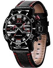 Menton Ezil Einzigartige Herrenuhr Leuchtende Zeiger 3 ATM Wasserdicht Datumszeige Lederband Analog Quarz Business Sportlich Armbanduhr für Männer