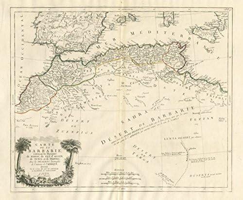 Carte de la Barbarie. North Africa España. Santini/VAUGONDY - 1784 ...