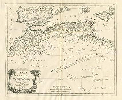 Carte de la Barbarie. North Africa España. Santini/VAUGONDY - 1784 - Mapa Antiguo Vintage - Mapas Impresos de África del Norte: Amazon.es: Hogar
