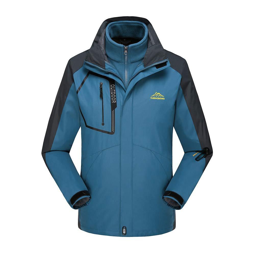 Men's Fleece Liner Outdoor Plus Size Hoodie Two Piece Set Sport Assault Waterproof Casual Sports Coat Navy