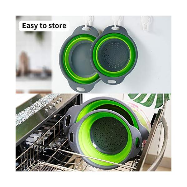 51WbadXfRaL Colosun Zusammenklappbares Sieb-Set, tragbar, faltbar, Filterkörbe, Schüsseln, Behälter, Gummi-Sieb für Küche, Camping…