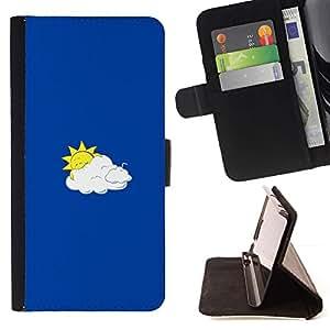 Momo Phone Case / Flip Funda de Cuero Case Cover - Funny Sun & Clouds - Samsung Galaxy E5 E500