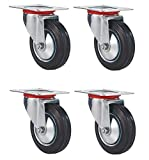Black Duck Brand 3'' Swivel Caster Wheels Rubber Base with Top Plate & Bearing, Heavy Duty (4 Pack)