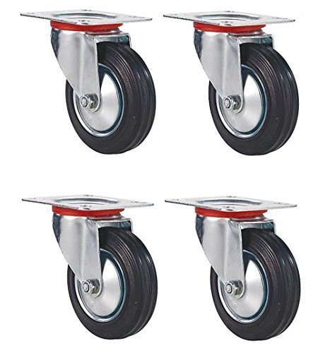 Black Duck Brand 3'' Swivel Caster Wheels Rubber Base with Top Plate & Bearing, Heavy Duty (4 Pack) by Black Duck Brand