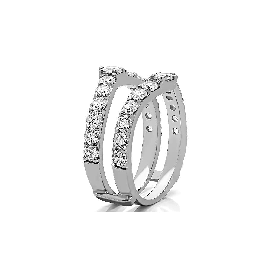 TwoBirch 0.35 ct. Diamonds (G H,I2 I3) and Sapphire Genuine Sapphire Ring Guard Enhancer in Sterling Silver (1/3 ct. twt.) (Size 3 to 15 in 1/4 Size Intervals)