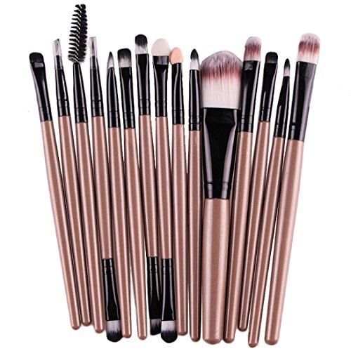 Kolylong Make-up Pinsel 15 Stück Kosmetik Pinsel einschließlich Foundation Puder Augenbrauen Lidschatten Lidstrich Zwei köpfigen Lippenpinsel Make-up notwendigen Werkzeuge Gold (etwa 13 ~ 15 cm)