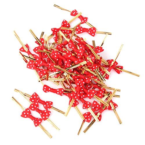 50Stk. Metallischen Bindebaender Fuer Suessigkeiten Zellophanbeutel Biskuit Plaetzchen Dekoration Rote