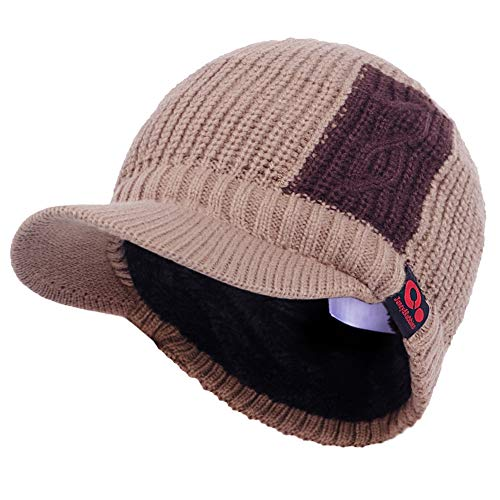 Janey&Rubbins Daily Knit Visor Brim Beanie Hat Fleece Lined Skull Ski Cap (Tan/Brown)