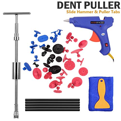 Body Kit Grips - Paintless Dent Repair Tools Kit - Grip PRO Slide Hammer with 39pcs Dent Removal Pulling Tabs Glue Gun Glue Sticks Dent Puller Car Dent Repair Tools for Vehicle SUV Car Auto Body Hail Damage Removal