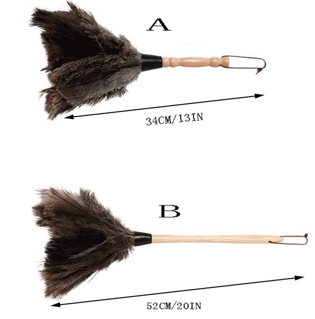 ZHANGY Hand Duster- Ostrich Feather Wood Handle, Spider Web Duster/Anti-Static car/Home Dust Dirt Cleaning Tool,B by ZHANGY (Image #2)