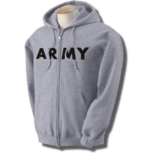ARMY Full-Zip Hooded Sweatshirt in Gray  - Army Military Hooded Sweatshirt Shopping Results