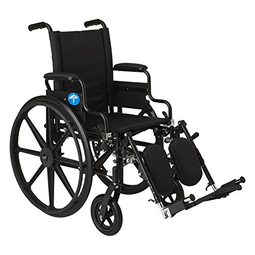Medline Premium Ultra-Lightweight Wheelchair with Flip-Back Desk Arms and Elevating Leg Rests for Extra Comfort, Black, 16