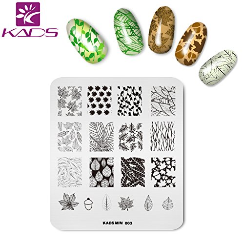 KADS Nail Art Stamping Plate Plant Leaf Shape Pattern Stamp Template Image Plates for Nail Salon ()