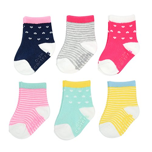 Carter's Baby Girls Crew Socks (6 Pack), Multi/Color Hearts/Stripes, 3-12 Months