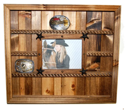 Trophy Buckle Display Holds 14 Buckles - Pine Plank