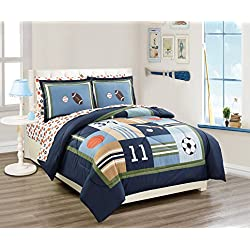 Fancy linen 5 Pc Twin Size Sport Kids Teens Baseball Basketball Football Soccer White Black Orange Brown Navy Blue Green Light Blue Comforter and Sheet Set New # Sport Navy