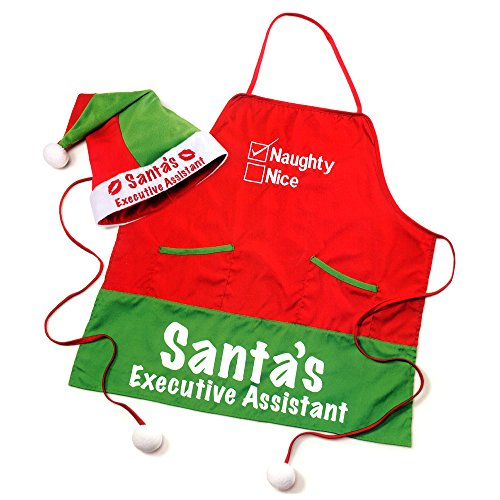 Russ Berry Santa's Executive Assistant Funny Adult Christmas Apron with Elf Hat (Elf Holiday Apron And Hat Adult)