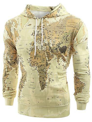 HEMIKS Men Hoodie Sweatshirt World Map Print Pullover Drawstring Pockets Long Sleeve Hooded Outerwear XL Yellow