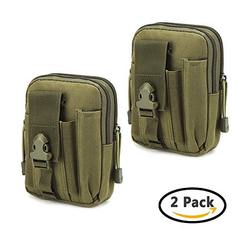 Universal Outdoor Waist Bag, Tactical EDC Tool Holsters Molle Pouch Hiking Camping Cycling Trekking Belt Purse for 6.2'' Phone, iPhone X/8/8 Plus/7/6s (Green-2) by GUNCOER