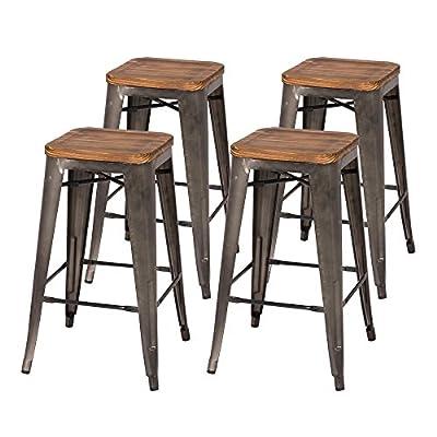 "Metropolis Backless Counter Stool 26"" Wood Seat"