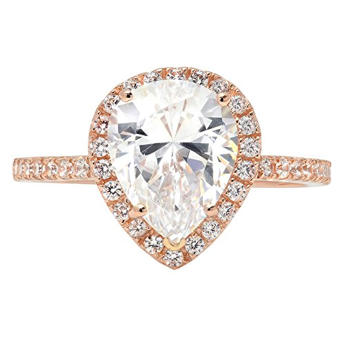 2.55ct Brilliant Pear Cut Halo Statement Solitaire Ring 14k Rose Gold, 7, Clara Pucci by Clara Pucci