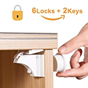 Adoric Life Magnetic Cabinet Locks Drawer Locks for Child Safety (6 Locks + 2 Keys) - Baby Proofing Cabinet Locks with 3M Adhesive Tape Easy To Install