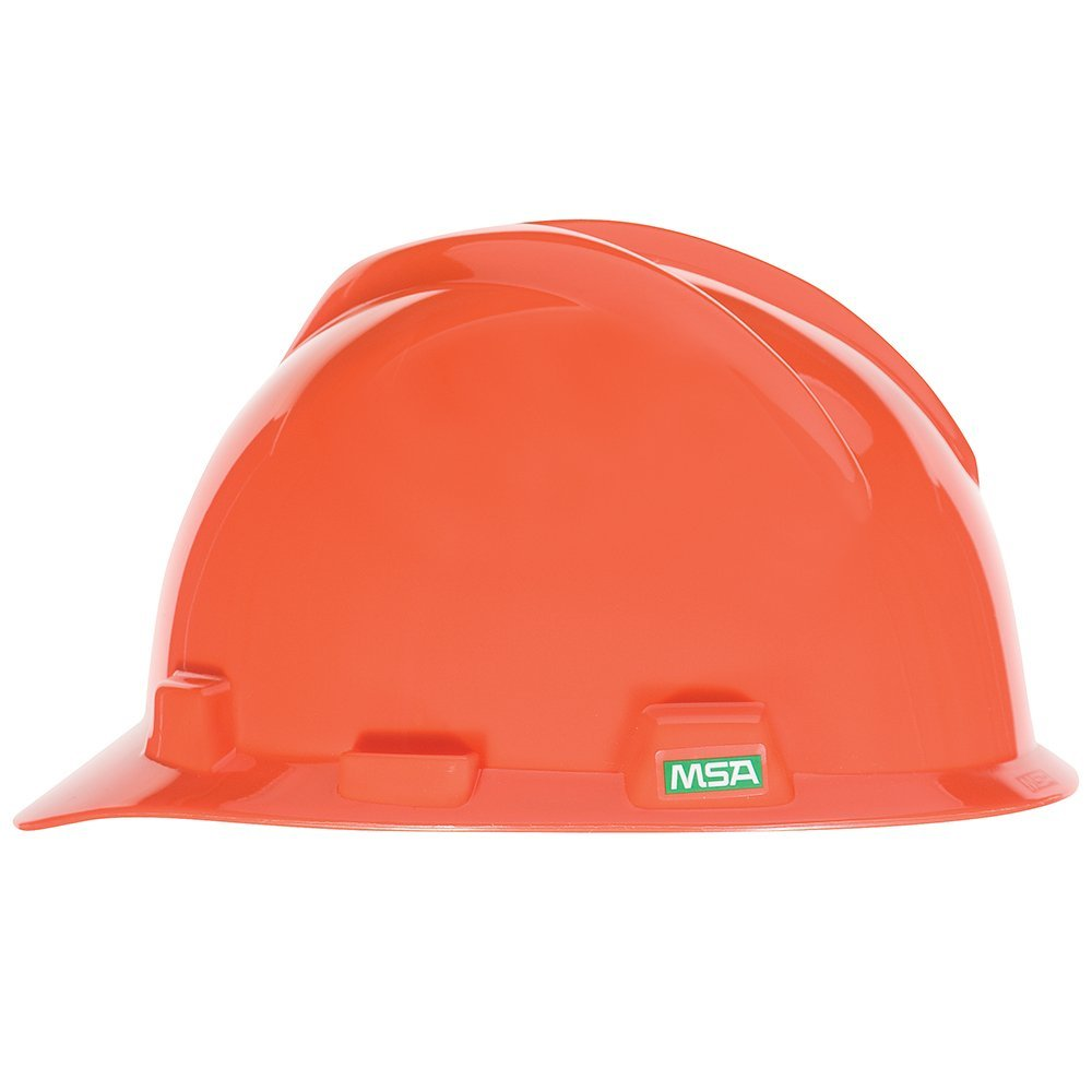 MSA 475361 V-Gard Hard Hat Front Brim with Ratchet Suspension, Standard, Orange