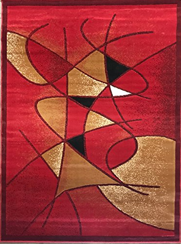 (Gallery Modern Abstract Area Rug Red Design GL24 (5 Feet 2 Inch X 7 Feet 1)