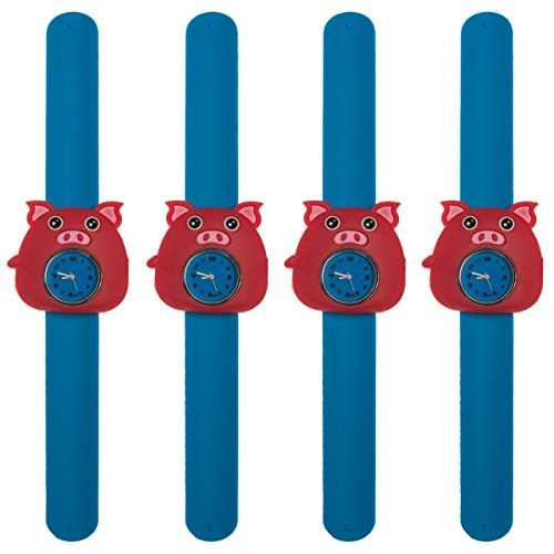 4 Pack Of Animals Slap Wrist Watches For Kids Rubber Snap Band Bracelet Analog Fun  Boys And Girls