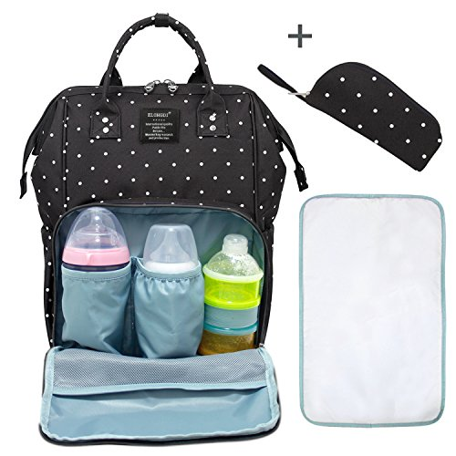 Elongdi Baby Diaper Bag, Large Capacity Travel Backpack Nappy Bags for Baby Care, Multi-Functional Diaper Backpack Baby Nappy Changing Bag Nursing Bag, Nappy Changing Mat & Carry Bag Included (BK/S)