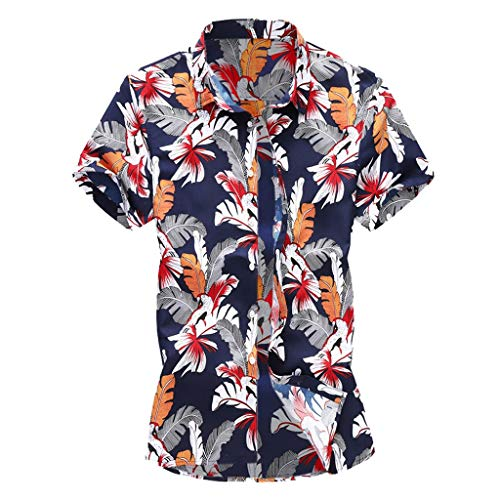 YKARITIANNA Summer New Men Casual Summer Printed Button Short Sleeve Hawaiian T-Shirt Top ()