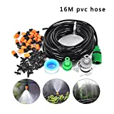 15M(49FT) Automatic Spray Drip Irrigation System Self Watering Garden Hose Kits with 20 Tee Joints,20 Adjustable dripper, Garden Greenhouse Plants