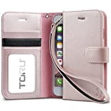 iPhone 8 Case / iPhone 7 Case, TORU Synthetic Leather Wristlet Flip Cover Folio Wallet Case with [Card Slot][ID Holder][Kickstand][Wrist Strap] for iPhone 8 / iPhone 7 - Rose Gold