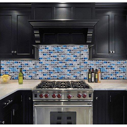 Kitchen Backsplash Accents: Ocean Blue Glass Nature Stone Tile Kitchen Backsplash 3D