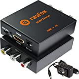 Rasfox Powered HDMI to AV/RCA Converter, 1080p HDTV HDMI to Composite RCA Audio Video A/V CVBS Adapter Converter Box with Power Adapter, High-end Metal Box with 1 Year Warranty