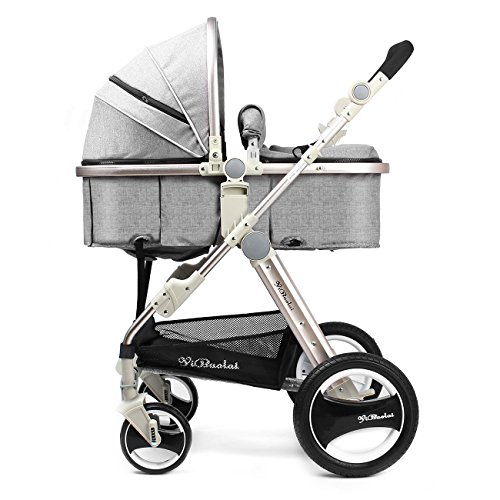 YBL High landscape rubber Four rounds Two-way implementation Baby carriage Folding suspension baby stroller Can sit and lie down Suitable for children 0-3 years old Four seasons sleeping basket Strong