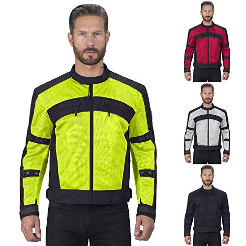 Viking Cycle Ironside Motorcycle Jacket for Men (Hi-Viz, Small)