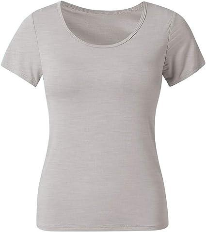 SMILEQ Camiseta de Mujer O-Cuello Blusa de Manga Corta sólida Sudadera Tops Camisa con cojín en el Pecho (S, Gris): Amazon.es: Deportes y aire libre