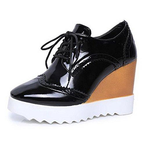 Naisten Suljetun kengät Kierroksella Pumppuja Musta Korkokengät Solid Toe Sitoa Pu Amoonyfashion HqIwBdH