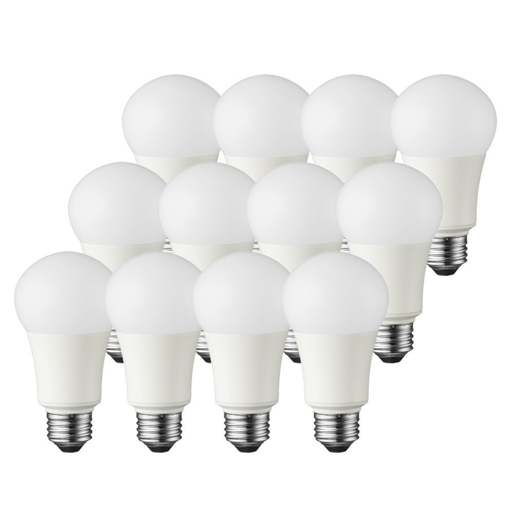TCP 60 Watt LED A19, 12 Pack, Soft White (2700K), Energy Star Rated Dimmable Light Bulbs